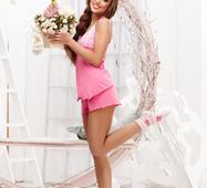 Женский костюм шорты Гипюр розовый
