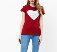 Женская футболка 18599 бордовый