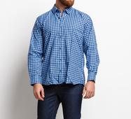 Мужская рубашка 16544 голубой принт клетка