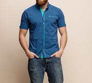 Мужская рубашка 15191 синий