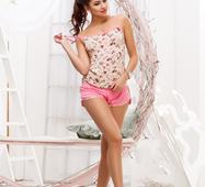 Женский костюм шорты Лилу персик принт розовый