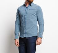 Мужская рубашка 16543 серый зеленый принт клетка