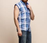 Мужская рубашка 15172 синий принт клетка