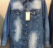Куртка подовжена джинсова №ат7140   (ГЛ)