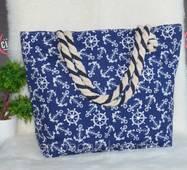"""Жіноча тканинна пляжна сумка """"Морська""""."""
