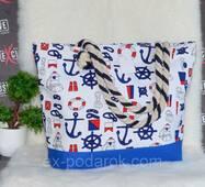 "Жіноча тканинна пляжна сумка ""Якоря""."