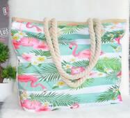 Жіноча тканинна пляжна сумка Фламінго.