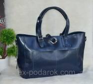 Жіноча шкіряна сумка. Носиться з дух сторін. Синя.