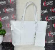 Белая женская кожаная сумка с кошельком (ключницей).