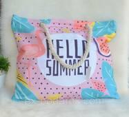 Женская тканевая пляжная сумка Фламинго.