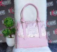 Женская кожаная сумка  нежно-розовая