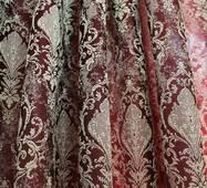 Шторная ткань золотая корона на красном купить в Украине