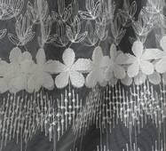 Тюль-гардина біла квіткова купити у роздріб