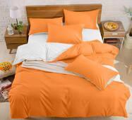 Подростковое двустороннее постельное белье Оранжевый + Белый