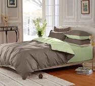 Подростковое двустороннее постельное белье Порох + Олива