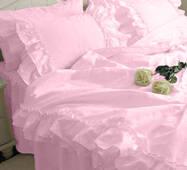 Постельное белье с двойной рюшей Премиум Розовый модель 2