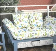 Декоративна тканина для штор покривал і подушок з рожевими і блакитними птахами на молочному тлі Туреччина 071046v14