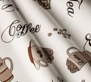 Декоративна тканина для штор покривал та подушок з бурими зернами кави і чашками Туреччина 7193v9
