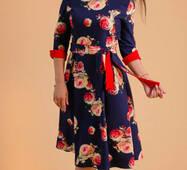 Жіноче квітчасте плаття міді 238