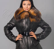 Шкіряна куртка з коміром з хутра лисиці ЮНОНА