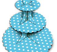 Подставка для кексов  3-х ярусная голубая