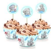 """Топперы для капкейков """" Мишка Тедди """", 6 шт."""