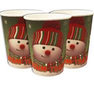 """Скляночки одноразові святкові дитячі """" Сніговик """" 10 шт./уп. Посуд одноразовий дитячий"""