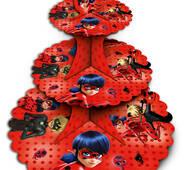 Подставка для кексов  3-х ярусная Леди Баг
