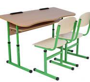 Комплект стіл учнівський 2-місний з полицею антисколіозний, №4-6 + стілець Т-подібний, №4-6
