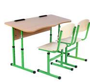 Комплект стол ученический 2-местный без полки антисколиозных, №4-6 + стул Т-образный, №4-6