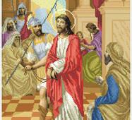 """Канва для вишивання бісером """"Ісуса засуджують на смерть (Хресна дорога 1)"""""""