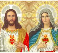 """Канва для вишивання бісером """"Відкриті серця Ісуса і Марії-2"""""""