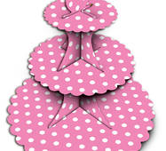Подставка для кексов  3-х ярусная розовая