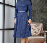 Женское теплое платье с карманами  253