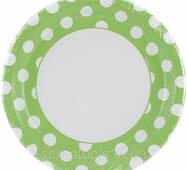 Тарілка паперова велика  кругла - Lime Green Decorative Dots