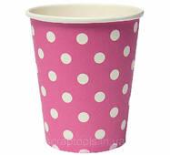 Бумажный стаканчик розовый в горох - 1шт