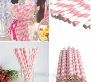 Паперові трубочки шеврон, колір рожевий (1шт)