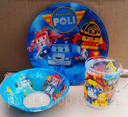 Дитячий набір посуду Робокар Поли (3 предмети)