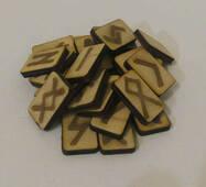 Руни дерев'яні для ворожіння 25 штук з берези з інструкцією в мішечку