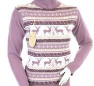 Женский теплый свитер с оленями,  Турция