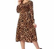 Женское леопардовое платье, 001129