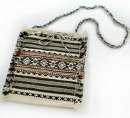 Тканевая женская сумка через плечо. Серого цвета