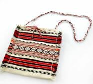 Тканевая женская сумка через плечо. Красного цвета