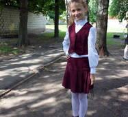 Шкільна форма для дівчаток молодших класів, бордова