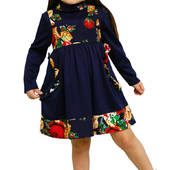 """Платье  детское с длинным рукавом синее  М -1023  рост 134. трикотажное тм """"Попелюшка"""""""