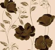 Обои бумажные Континент Есения коричневые цветы бежевый фон 1268