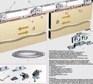 Розсувна, синхронна система для шаф і міжкімнатних дверей верхнього спирання HSK80