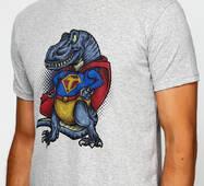 Мужская футболка с принтом SuperT-Rex Manatki Меланж 2XL (11510206)