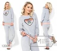 """Домашній велюровий костюм і нашивкою """"серце"""" з пайеток, брюки на гумці з манжетами 12004"""