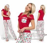 Піжама з віскозною футболкою і брюками з штапеля (пов'язка в коплекте) 12457